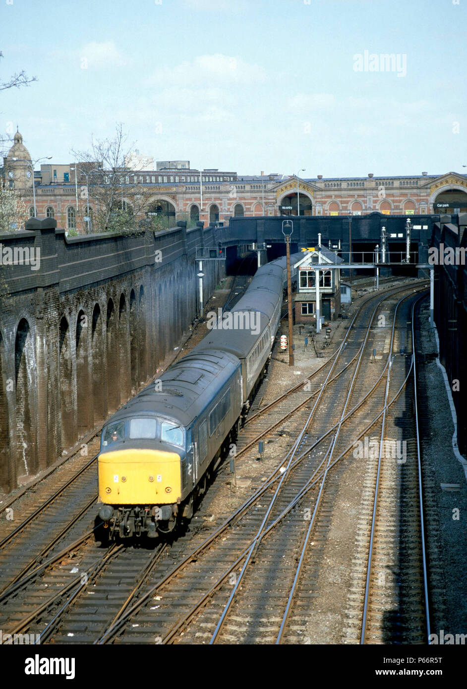Leicester, London Rd. Junction. No.45.110 heads south away from Leicester station with 12:10 ex Sheffield for St.Pancreas. 19.04.1982. - Stock Image