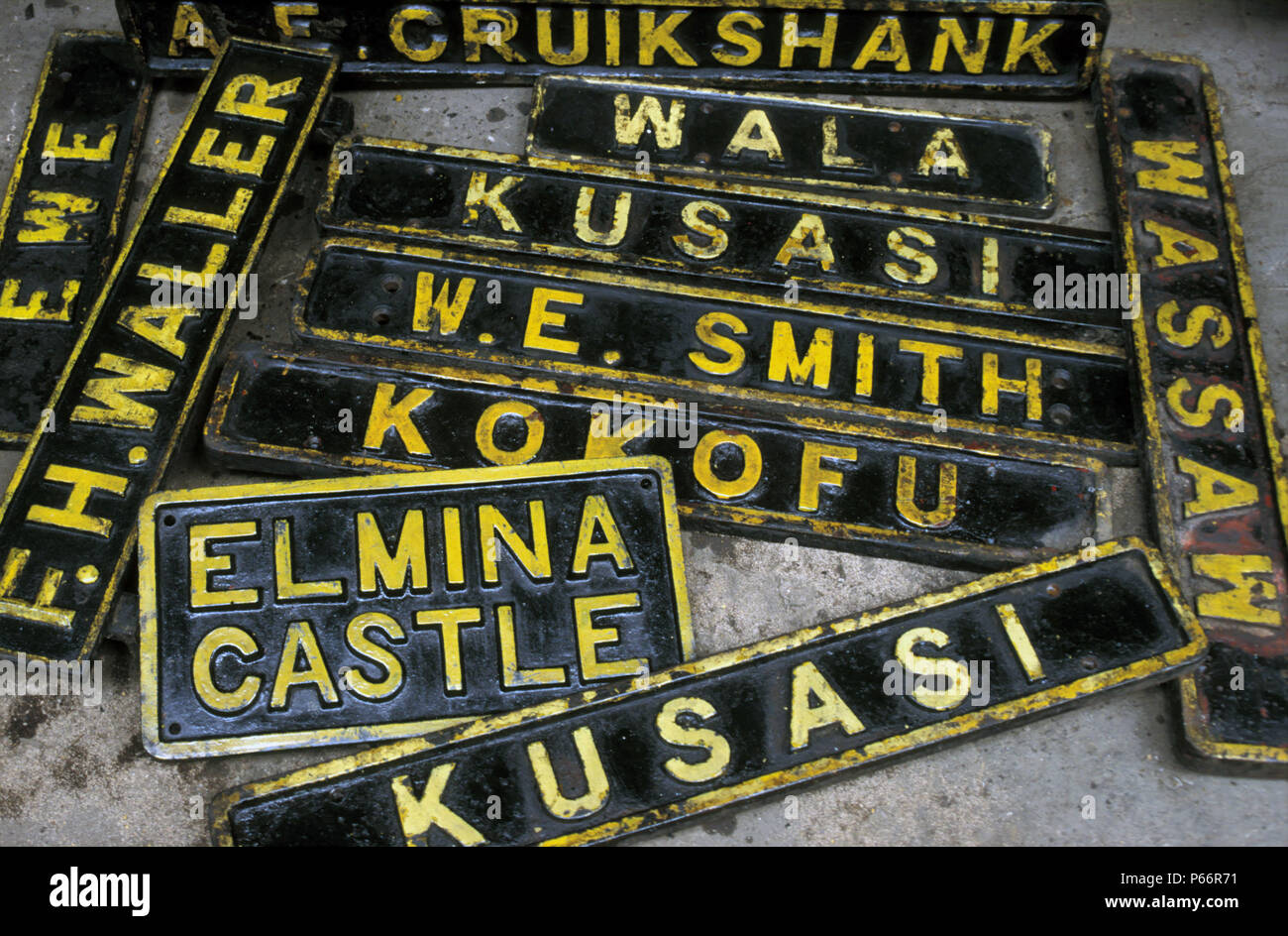 Locomotive Nameplates from condemned Ghana Railways locomotives at Location Works on Tuesday 25 June 1985. Commemorated in their picture are former Br - Stock Image