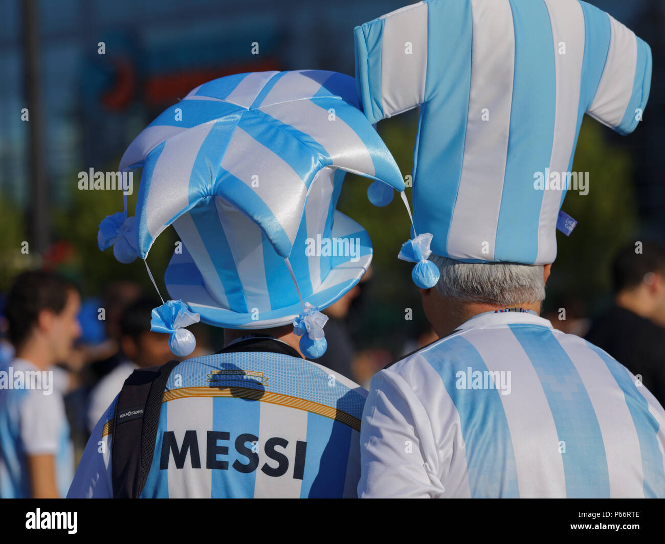 St. Petersburg, Russia - June 26, 2018: Argentinian football fans in top hats at Saint Petersburg stadium during FIFA World Cup 2018 before the match  - Stock Image