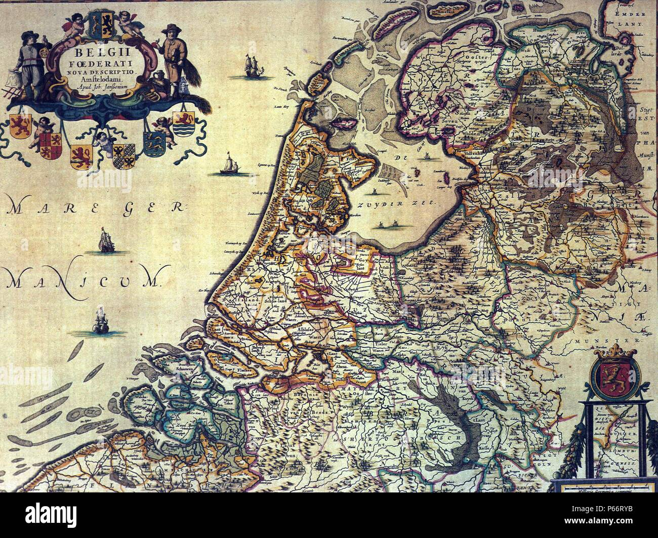 1658 map of the Dutch Republic. The Dutch Republic was known as the Republic of the Seven United Netherlands (Republiek der Zeven Verenigde Nederlanden) existed 1581 to 1795 - Stock Image