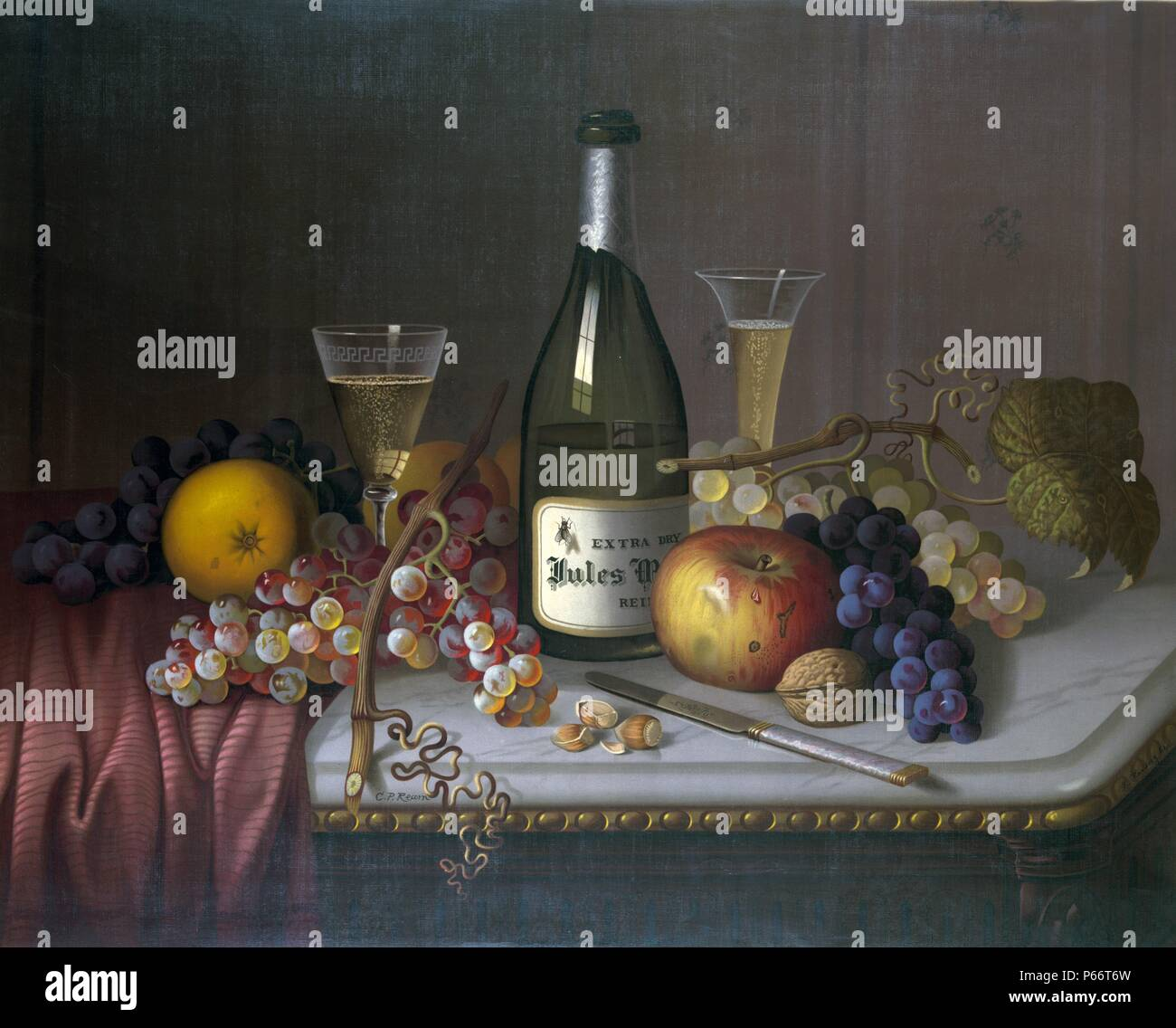 Still life by Louis Prang & Company of Boston 1870. The collective image is very modern in its repetition and perspective, and also illustrates the intensity of the chromolithographic process. Louis Prang (March 12, 1824 – September 14, 1909) was an Amer - Stock Image