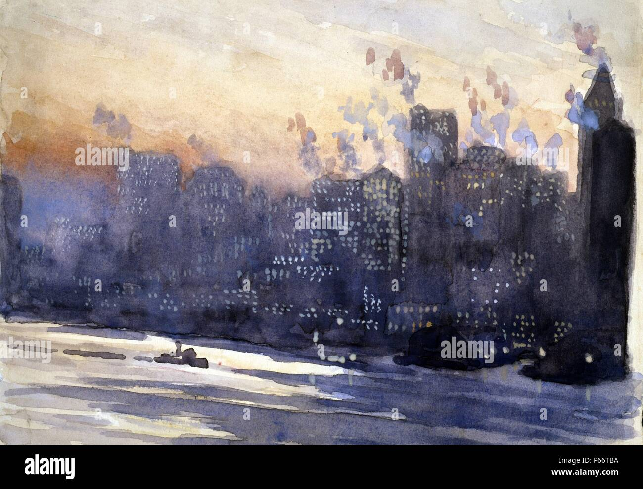 New York City harbour and skyline at night, by Joseph Pennell, 1857-1926, artist painted between ca. 1921 and 1926. drawing on cream paper, in watercolour, gouache. New York City. Diagonal view across East River to tall buildings of Manhattan, red glow of sunset above, dots of light in many of the windows. - Stock Image