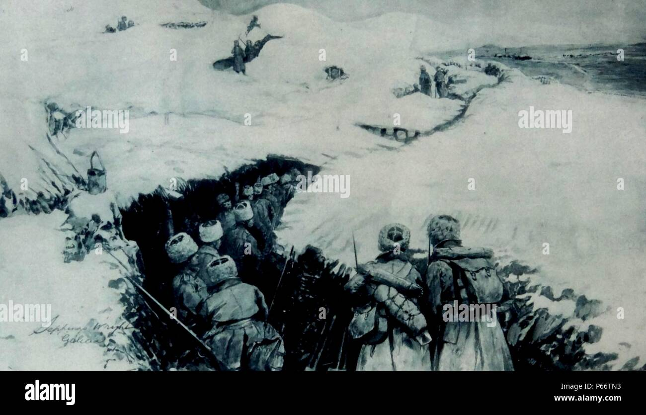 world war one Russian troops advance through a snow covered trench in Galicia. The Battle of Galicia was a major battle between Russia and Austria-Hungary during the early stages of World War I in 1914. In the course of the battle, the Austro-Hungarian armies were severely defeated and forced out of Galicia, while the Russians captured Lemberg and, for approximately nine months, ruled Eastern Galicia. - Stock Image