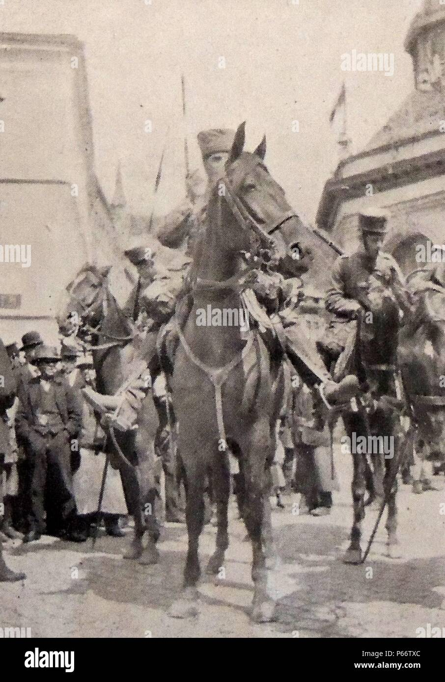 World war One; The advance forces of German cavalry enter the Belgian town of Spa, 4th August 1914 - Stock Image