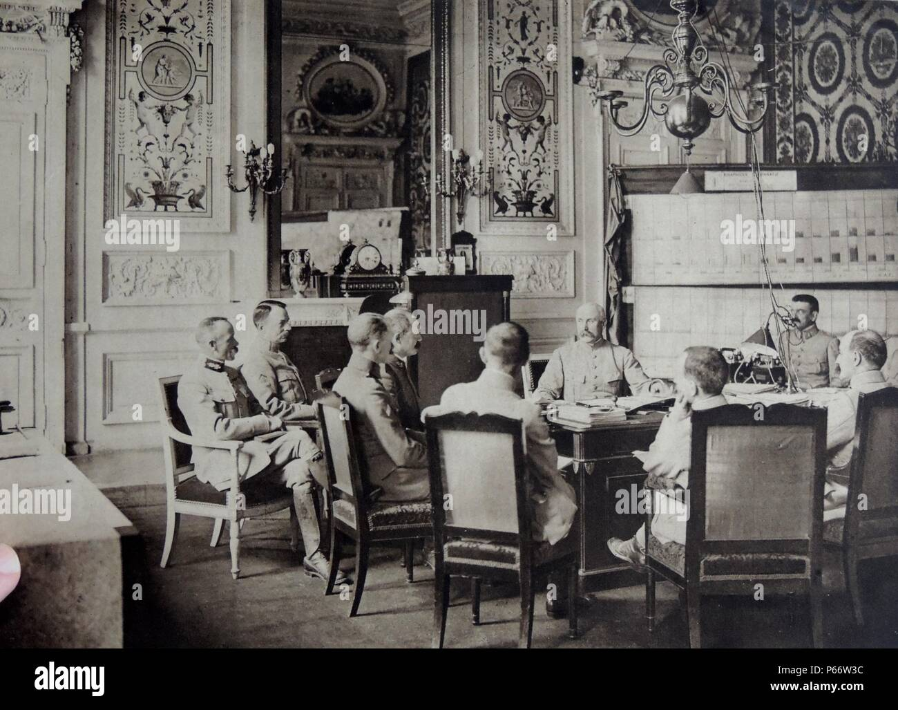 Meeting of senior officers on the staff of French General Philippe Petain during world war one, 1917. Petain is shown facing the camera (second from the right). 1917 - Stock Image