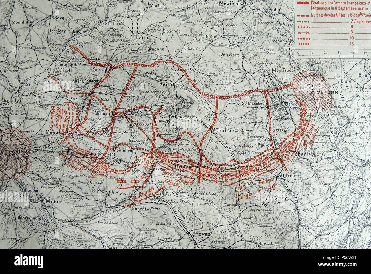 Map showing the progressive positions the French and British forces at the First Battle of the Marne was conducted between 6-12 September 1914. The outcome bringing to an end the war of movement that had dominated the First World War since the beginning of August. Instead, with the German advance brought to a halt, stalemate and trench warfare ensued. Stock Photo