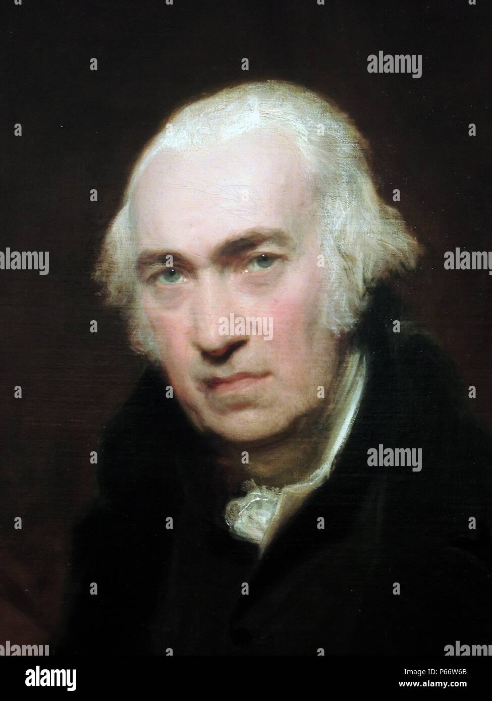 Portrait of James Watt, 1812 by Sir Thomas Lawrence (1769-1830). Oil on canvas. James Watt (born in Greenock, Renfrewshire, Scotland 1736 - died 1819 in Handsworth, Birmingham, England aged 83.) Scottish inventor and mechanical engineer whose improvements to the steam engine were fundamental to the changes brought by the Industrial Revolution in both Great Britain and the rest of the world. Birmingham Museum. - Stock Image