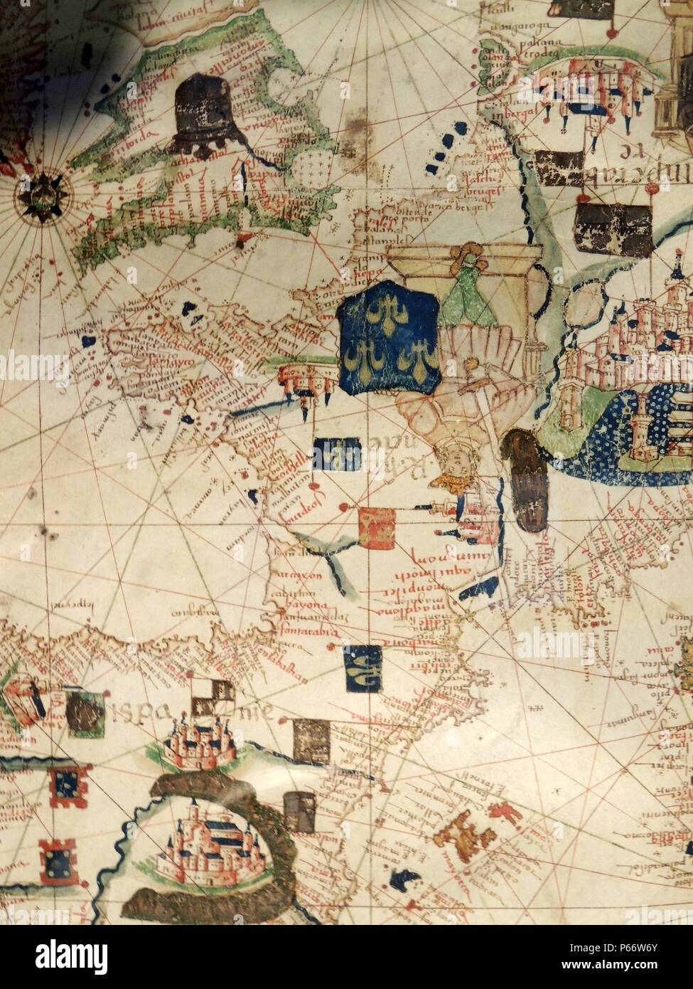 France depicted in Jacopo Russo Map of the world 16th century circa 1528 from the 'Carte Geografiche' (vellum) - Stock Image