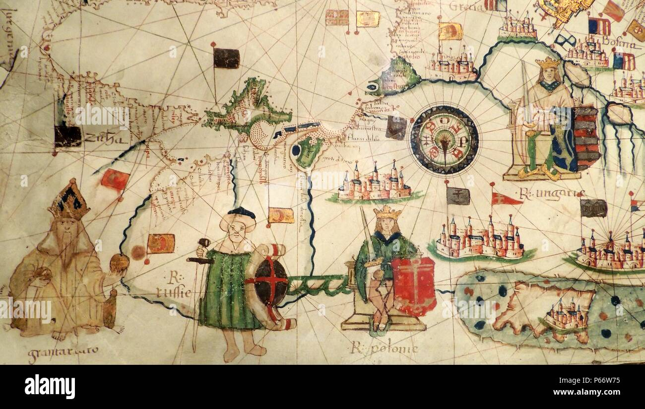 King of Hungary depicted in Jacopo Russo Map of the world 16th century circa 1528 from the 'Carte Geografiche' (vellum) - Stock Image