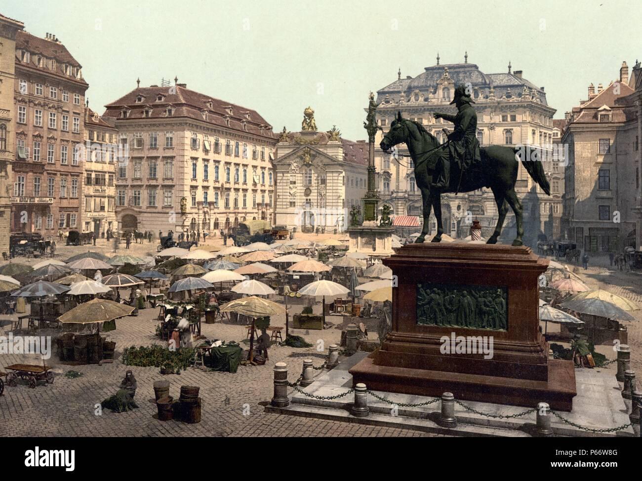 Market place, Vienna, Austro-Hungary 1901 - Stock Image