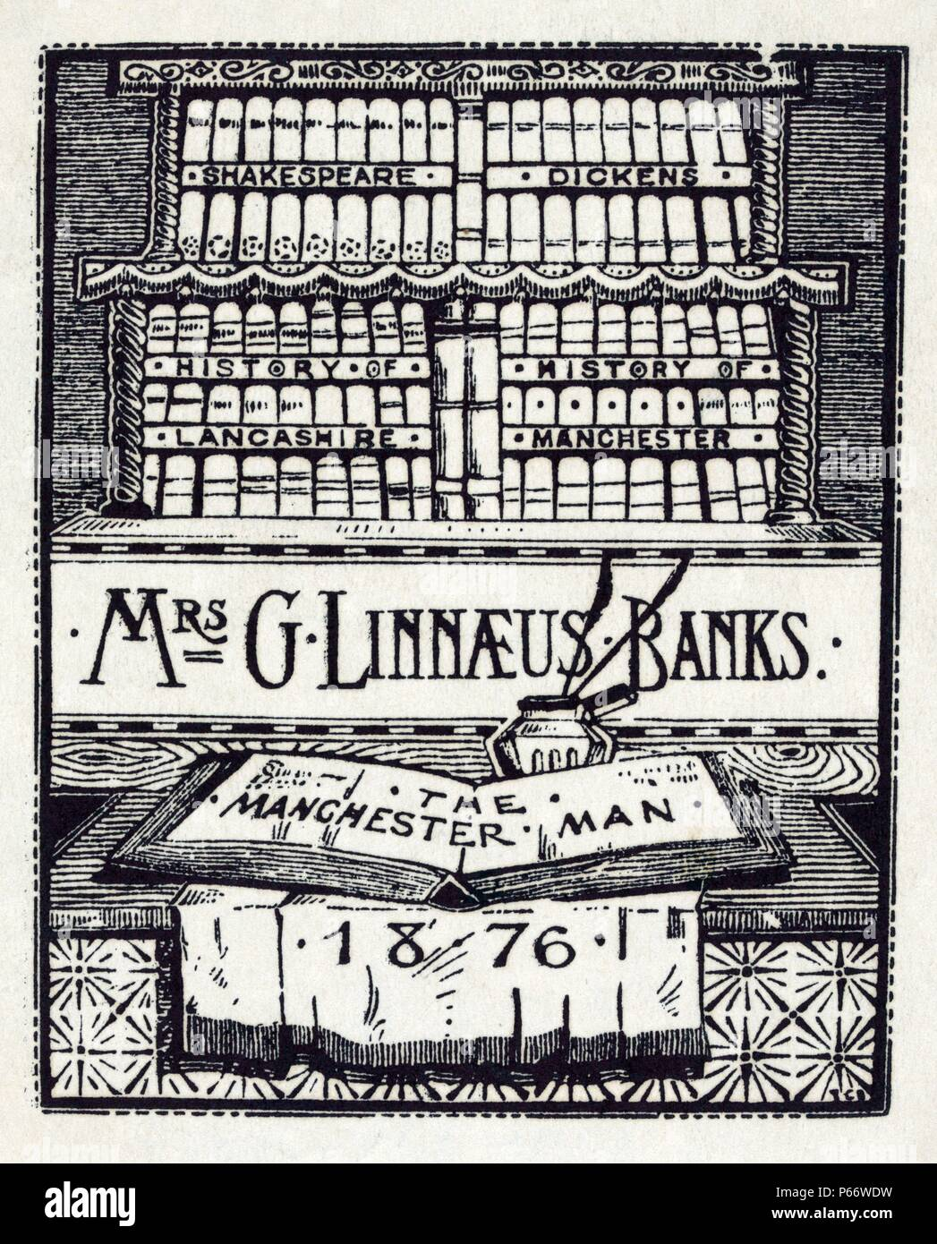 Bookplate of English author, Mrs. G. Linnaeus Banks Published 1876. Print shows books on shelves, with Mrs. Bank's book 'The Manchester Man' opened on a table in the foreground. - Stock Image