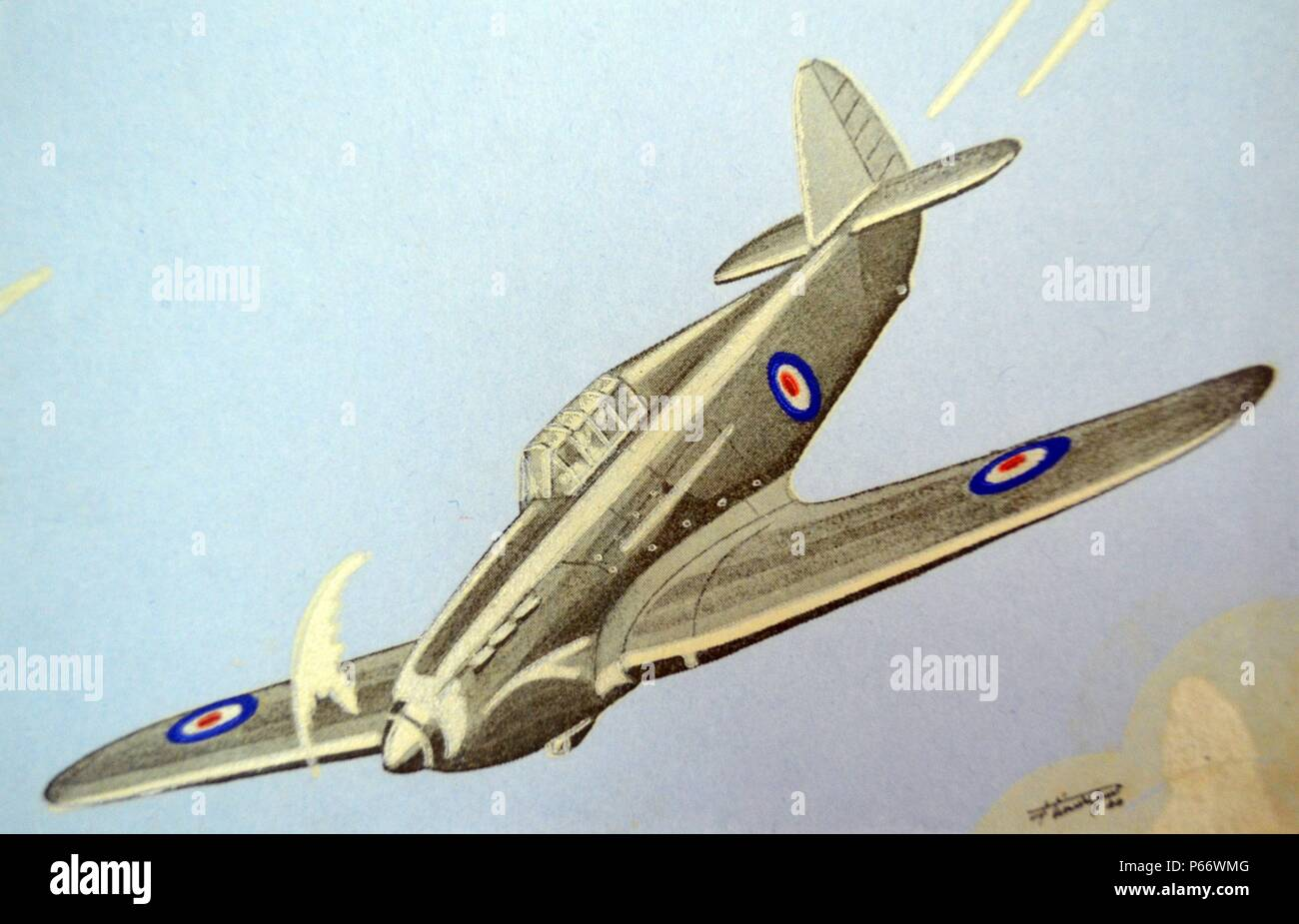 World War Two: French postcard depicting a British RAF Hawker Hurricane aircraft. During the 11 days of fighting in France and over Dunkirk on 10â€î21 May 1940, Hurricane pilots claimed 499 kills and 123 probable. Contemporary German records, examined post-war, attribute 299 Luftwaffe aircraft destroyed and 65 seriously damaged by RAF fighters.[37] When the last Hurricanes left France, on 21 June, of the 452 Hawker fighters engaged during the Blitzkrieg, only 66 came back to Great Britain[38] with 178 abandoned at the airfields of Merville, Abbeville, Lille/Seclin and other bases.[36] - Stock Image
