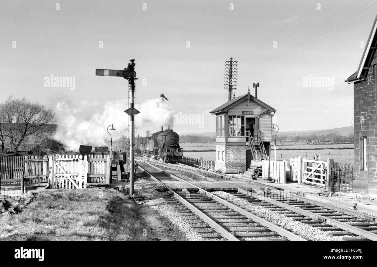 Brock on the former L.N.W.R. section of the West Coast Main Line looking north. The four track section from Euxton did not extend beyond Preston. Acco - Stock Image