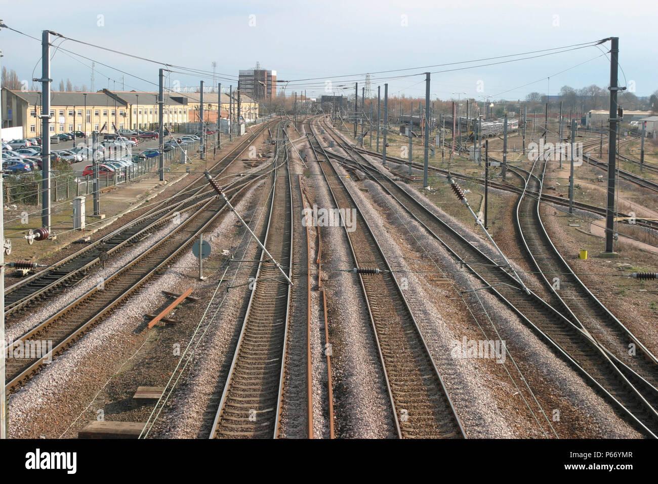 Railway tracks and sidings at Peterborough, ECML 2004 - Stock Image