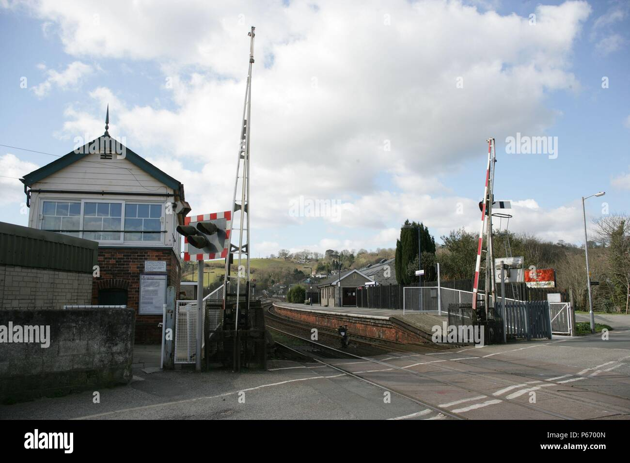 Signal box and level crossing at the entrance to Lostwithiel station, Cornwall. 2006 - Stock Image