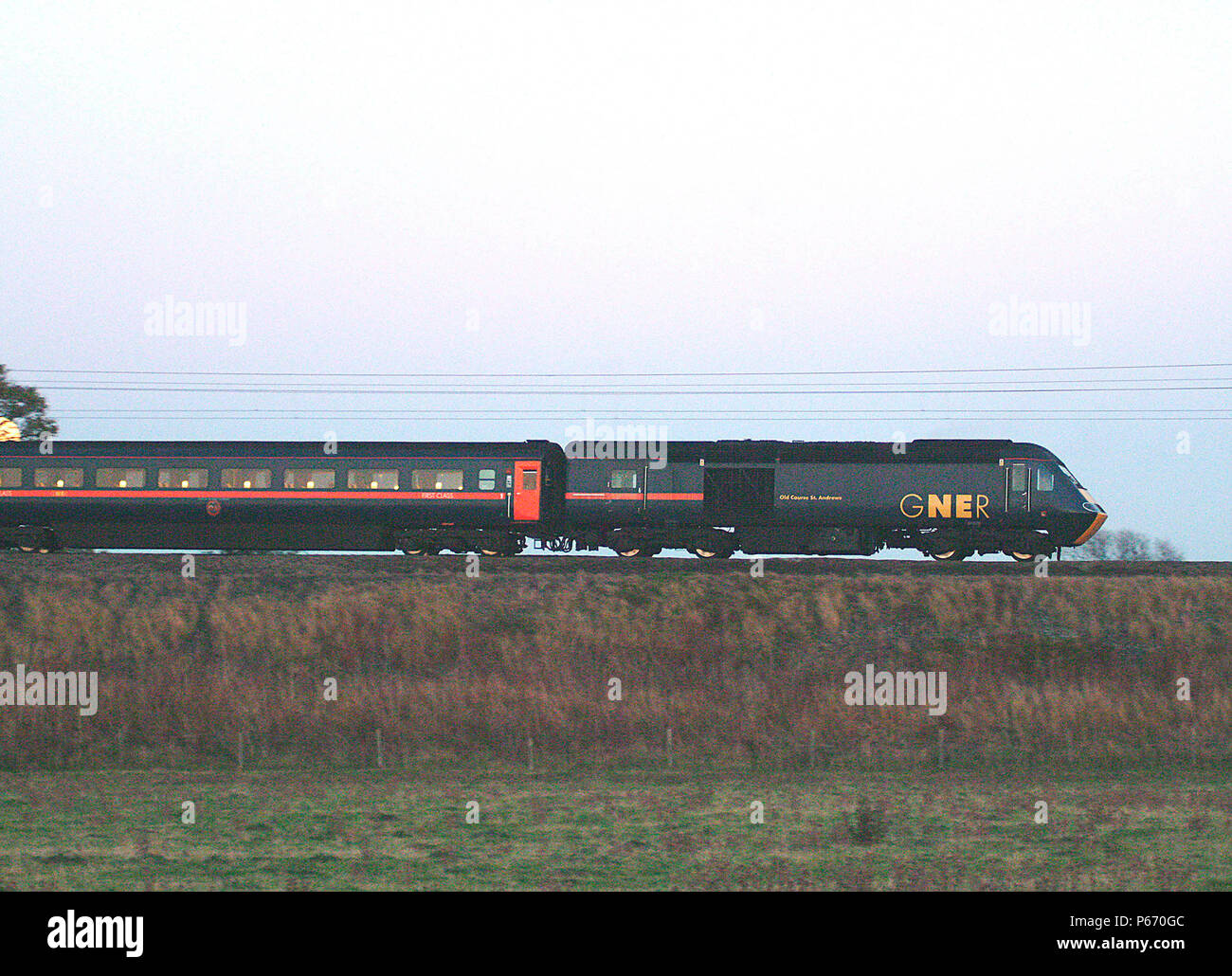 The HST fleet of GNER provides the traction for non-electrified routes feeding into the electrified ECML including this Aberdeen - Kings Cross service - Stock Image