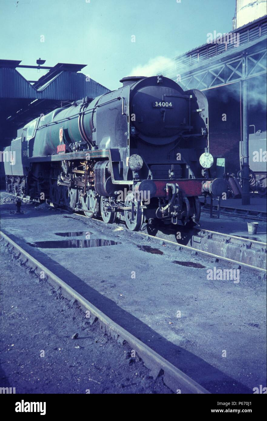 The magic of Bournemouth Motive Power Depot in the final years of steam is epitomised by this study of re-built Bulleid West Country Class Pacific 4-6 - Stock Image