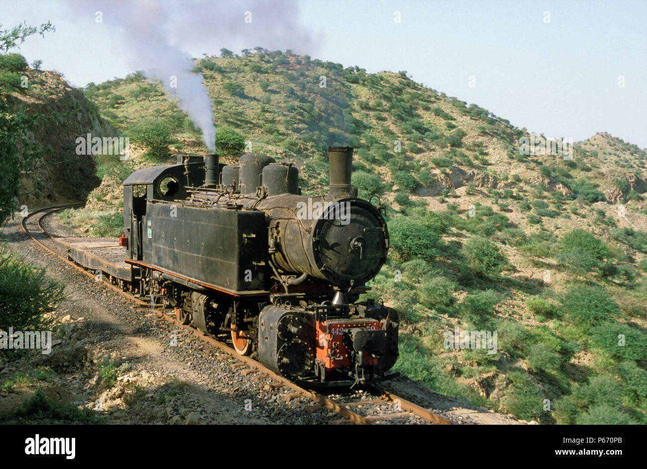 The rebuilding of Eritrea's railway between Masawa on the Red Sea Coast and Asmara the capital, following 30 years of abandonment and Civil war, was l - Stock Image