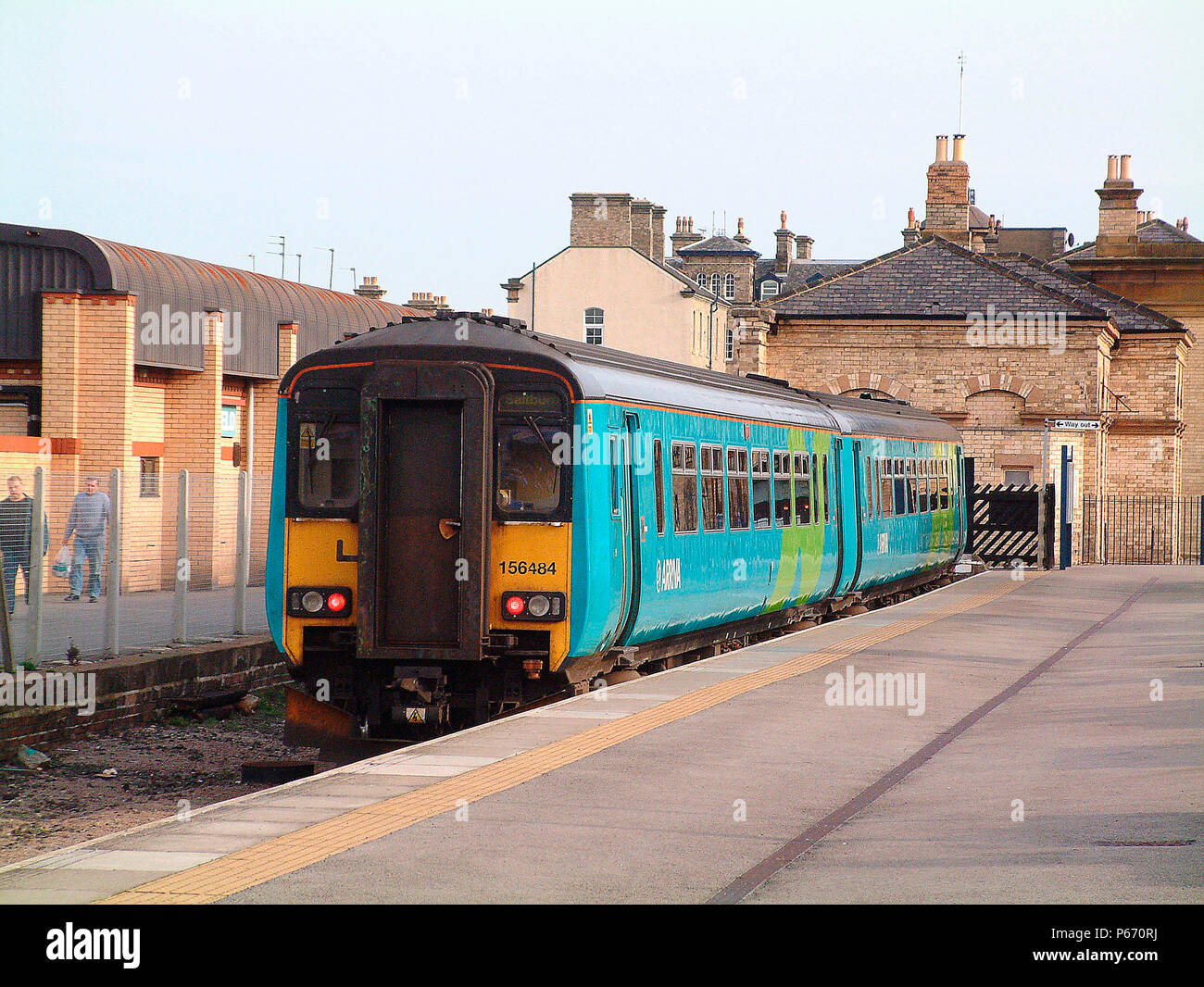 The seaside resort of Saltburn is still served by a frequent number of trains, usually Sprinters, such as this local service to Newcastle awaiting dep - Stock Image