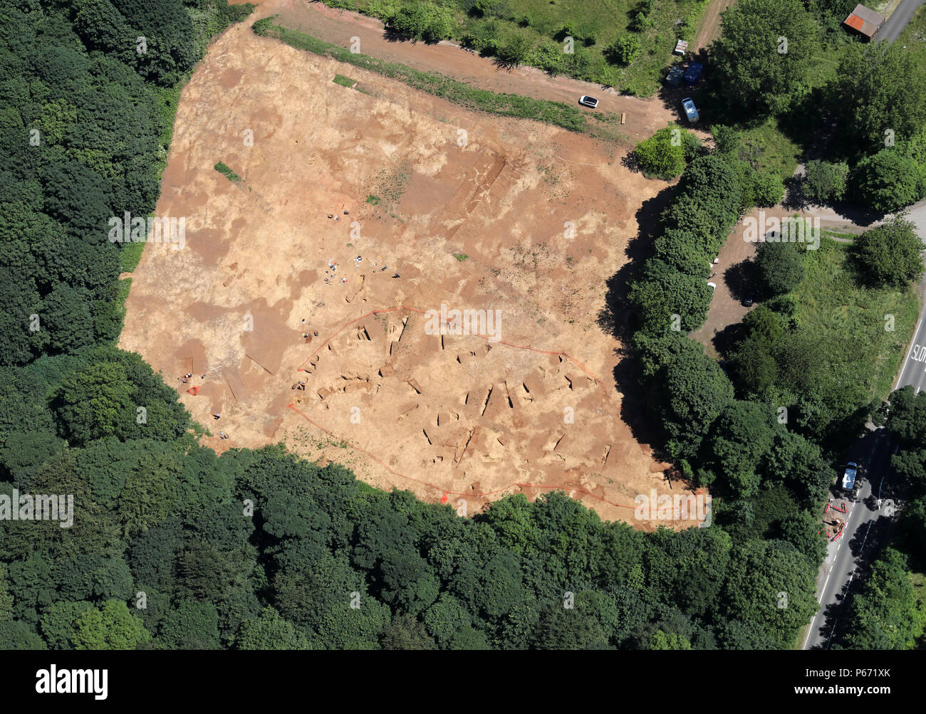 aerial view of an archaeological dig - Stock Image