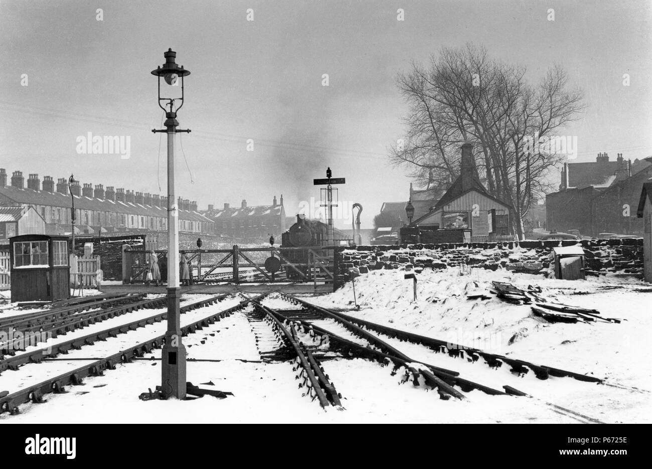 A rare scene taken on the remoteness of the Midland Railway's Barnoldswick branch which ended in sidings after the station level crossing. The picture - Stock Image