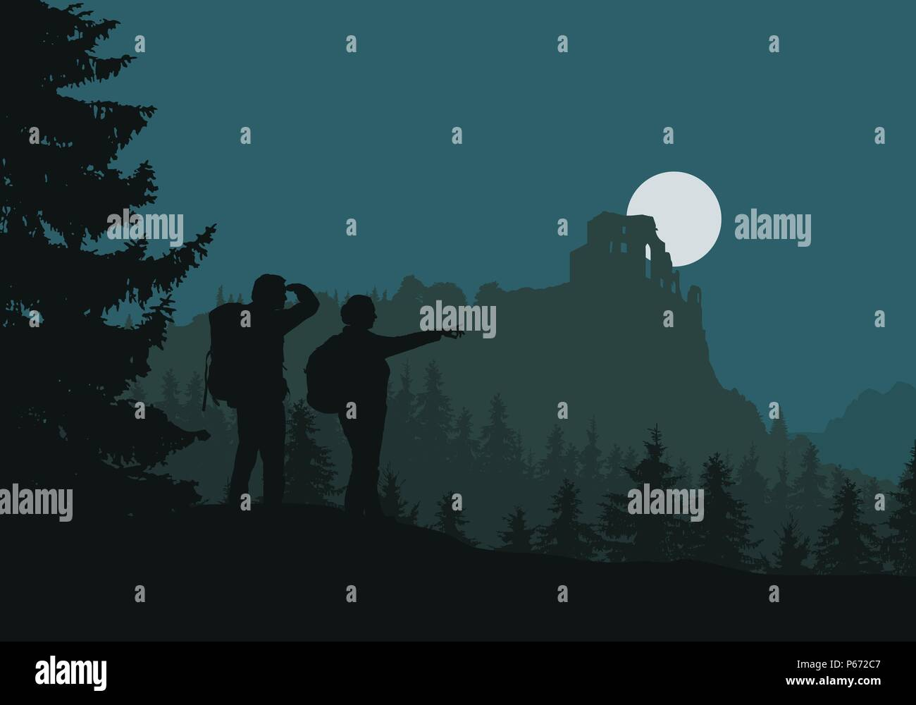 Two tourists go to castle ruins, green forest between mountains and hills, under night sky with moon - vector - Stock Vector