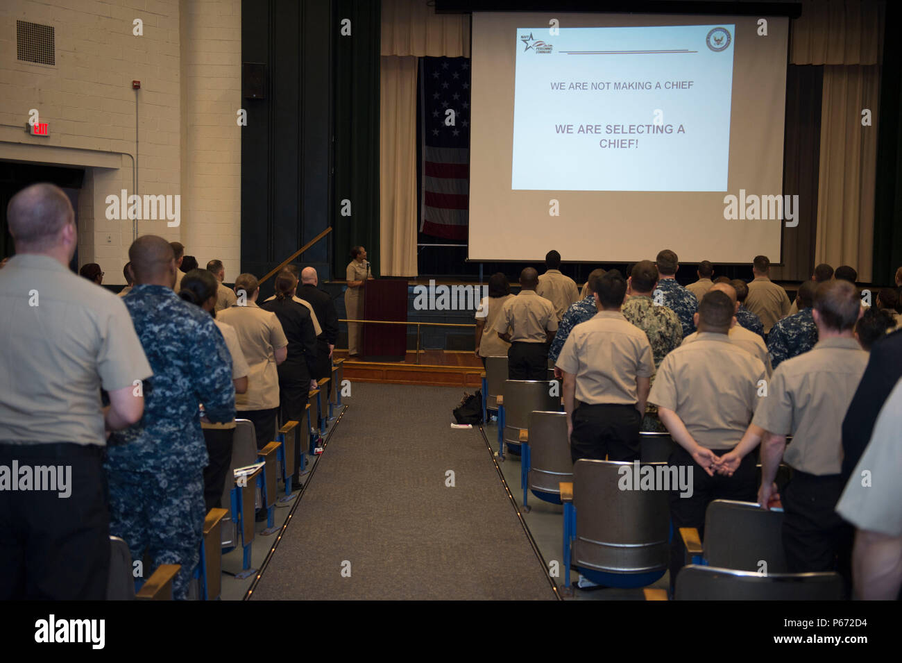 160511-N-TA425- 240 NORFOLK (May 11, 2016) Sailors from the Hampton Roads area attend the ninth annual leadership symposium hosted by Naval Station Norfolk's First Class Petty Officer Association (FCPOA).  FCPOA established the event as a way to help Sailors further their careers, network and get leadership guidance.  (U.S. Navy photo by Mass Communication Specialist 2nd Class Erica Yelland/Released) - Stock Image