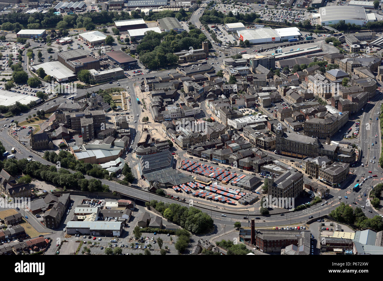 aerial view of Dewsbury town centre, West Yorkshire - Stock Image