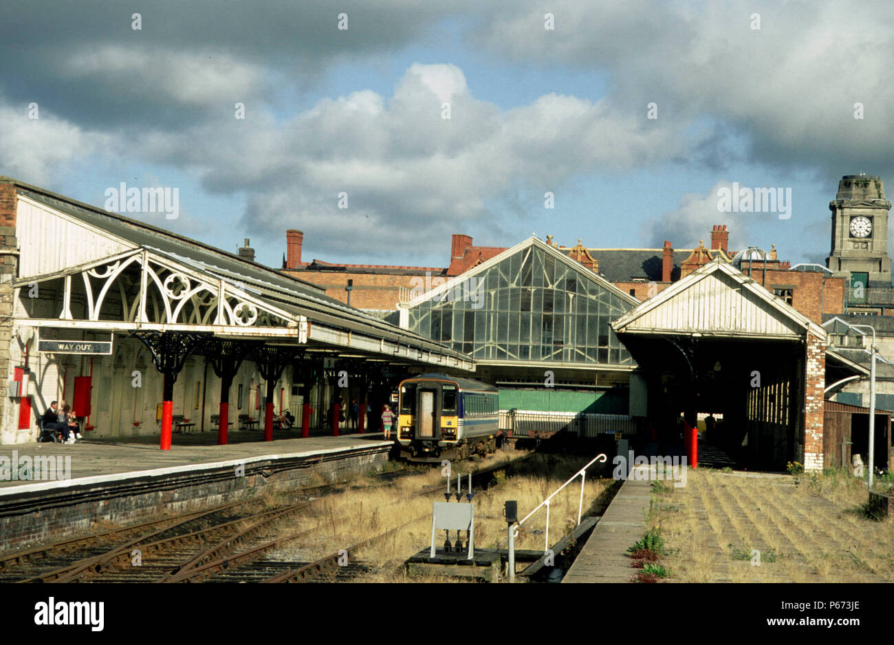 Aberystwyth Station prior to restoration with a single car Class 153 DMU. - Stock Image
