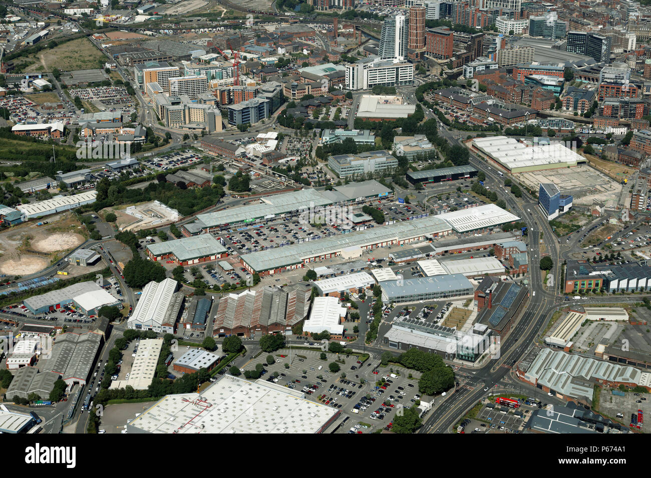 aerial view of the Hunslet area of Leeds with Crown Point Shopping Centre prominent - Stock Image