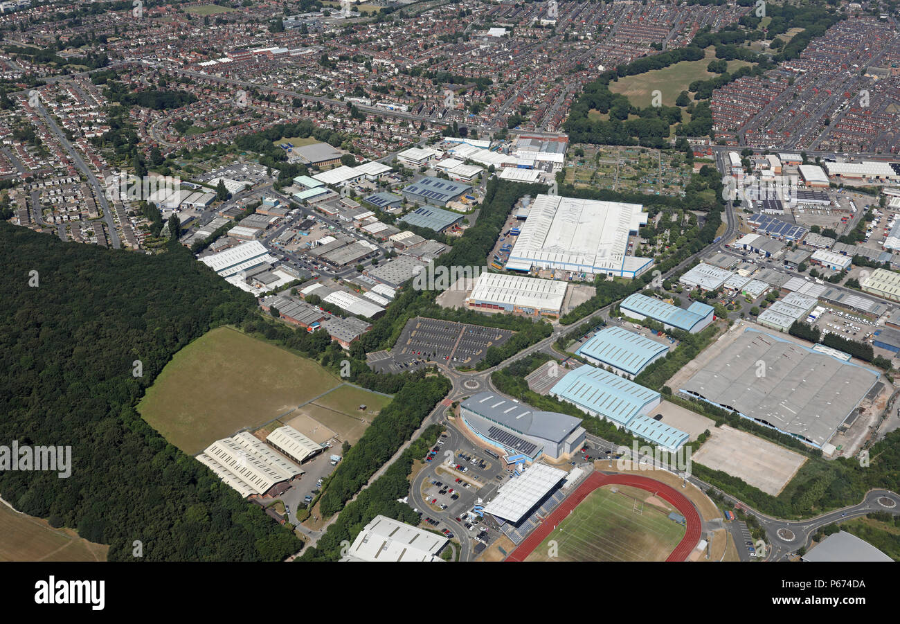 aerial view of Westland Road & Middleton Grove area of Middleton, Leeds - Stock Image
