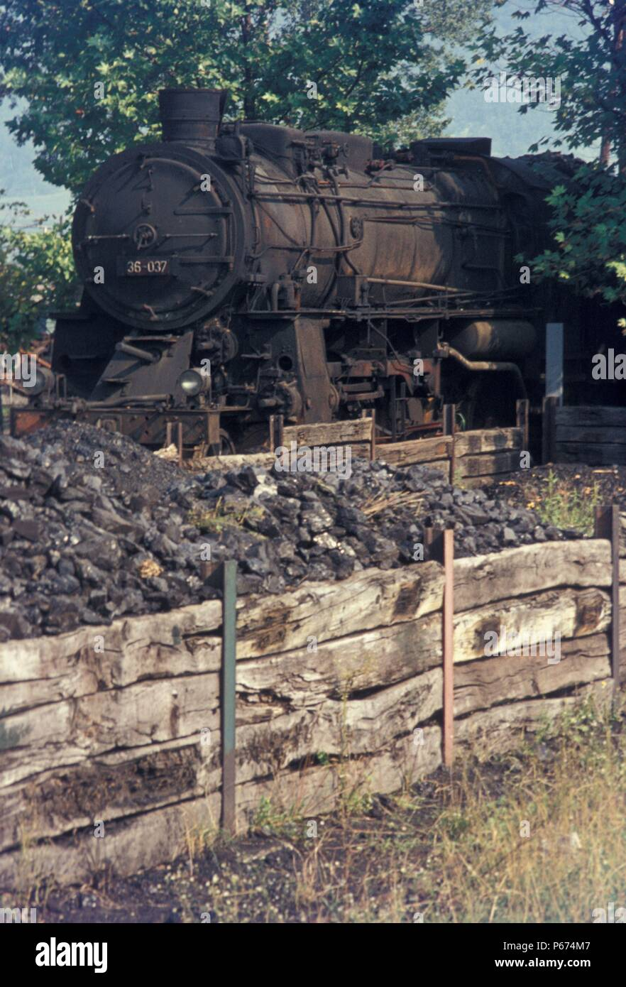 Lying derelict at Nova Gorica shed on Saturday 26th August 1972 was this former Prussian G12  3 cylinder 2-10-0. These engines were classified 36 by Y - Stock Image