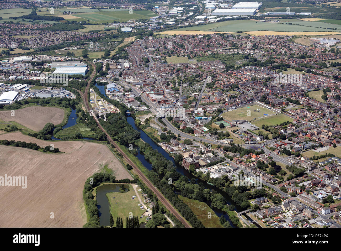aerial view of Mexborough in the Metropolitan Borough of Doncaster - Stock Image