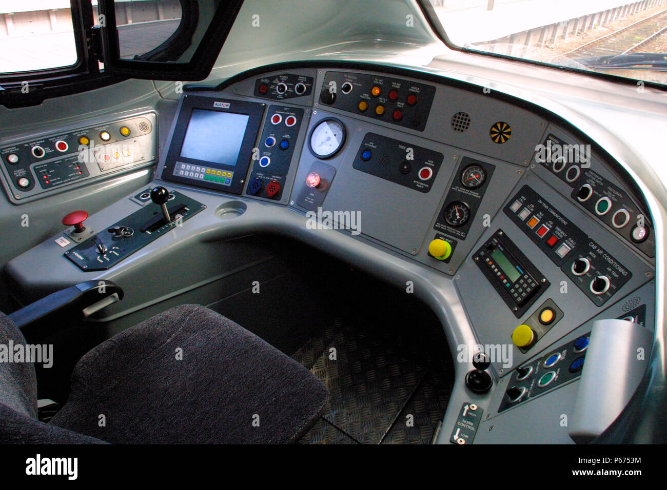 The interior of a Virgin Trains Penolino tilting trains cab. 2003. - Stock Image