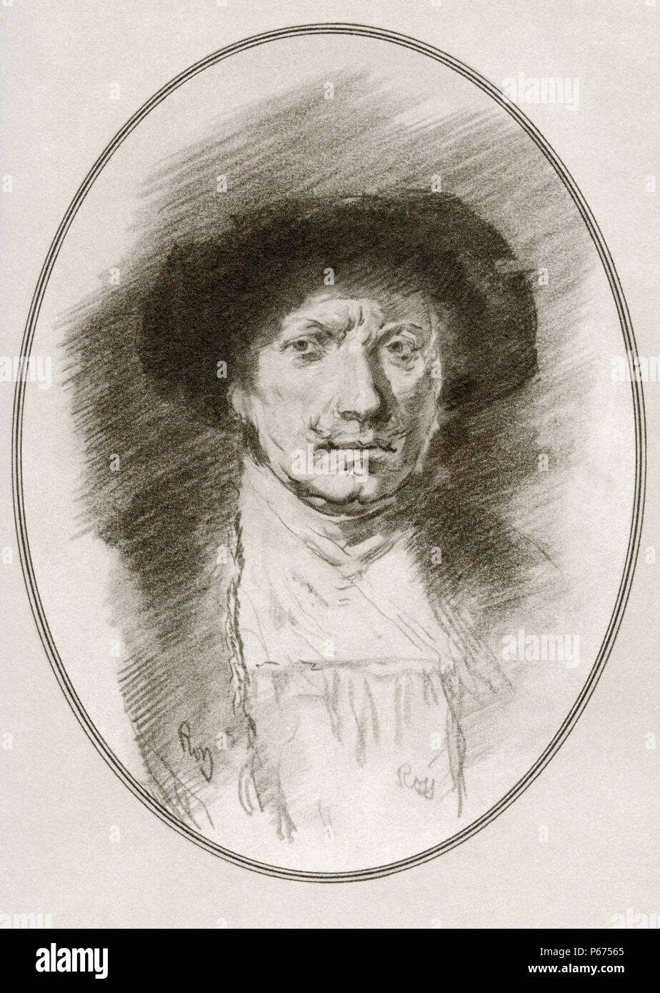 Rembrandt Harmenszoon van Rijn, 1606 -1669.  Dutch draughtsman, painter, and printmaker.  Illustration by Gordon Ross, American artist and illustrator (1873-1946), from Living Biographies of Great Painters. - Stock Image