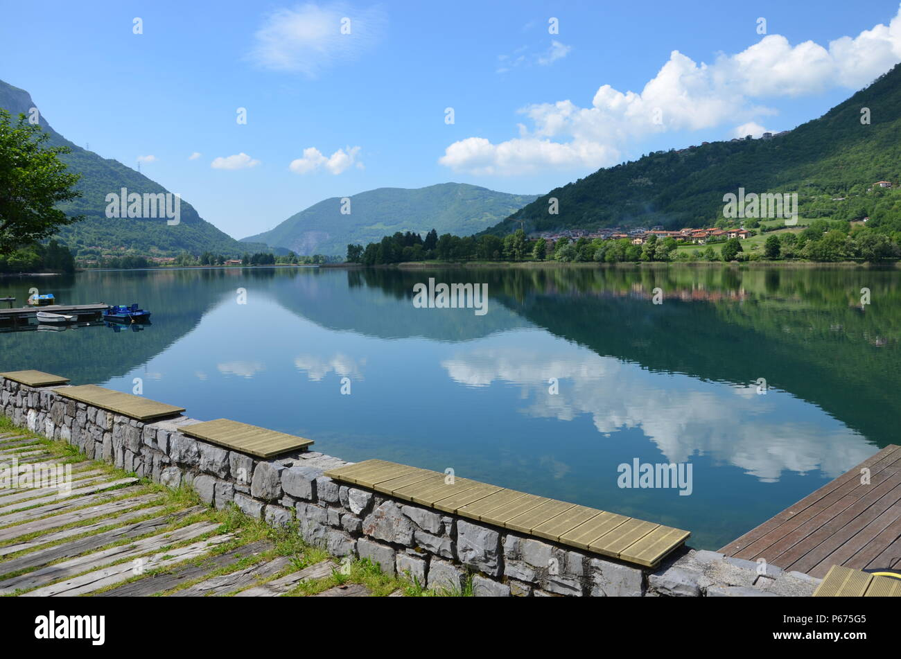 View towards Lago d'Iseo in Lombardy, Italy, panorama, Lovere, water surface, Brescia, Bergamo, upper Italian, hiking, biking, hiking trails - Stock Image