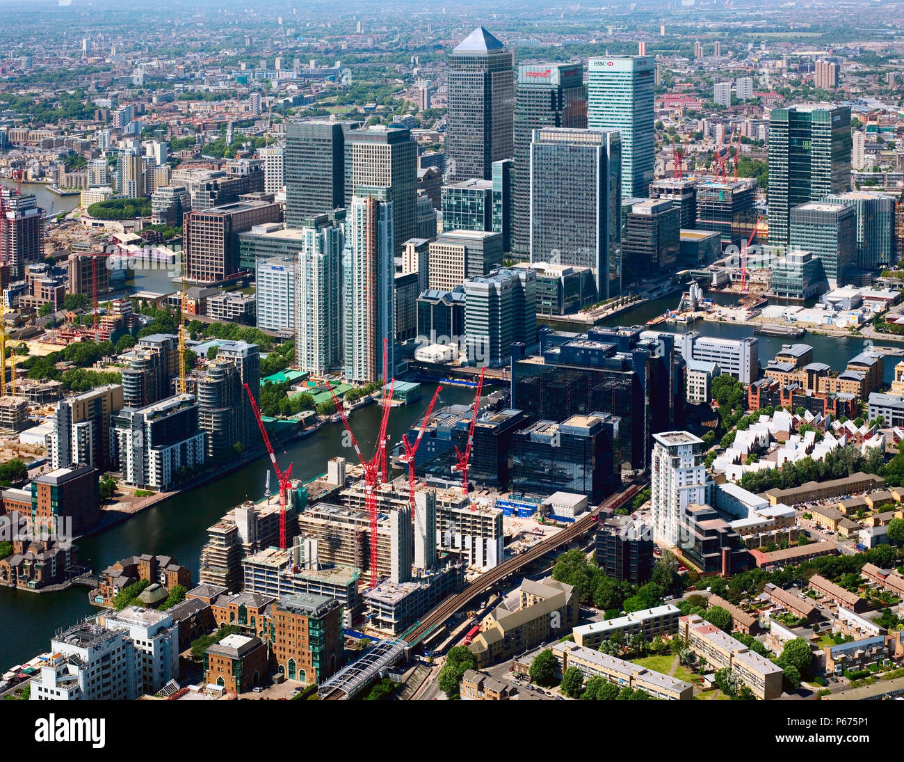 Aerial view of Canary Wharf, Docklands, looking from the south, Llondon, UK Stock Photo