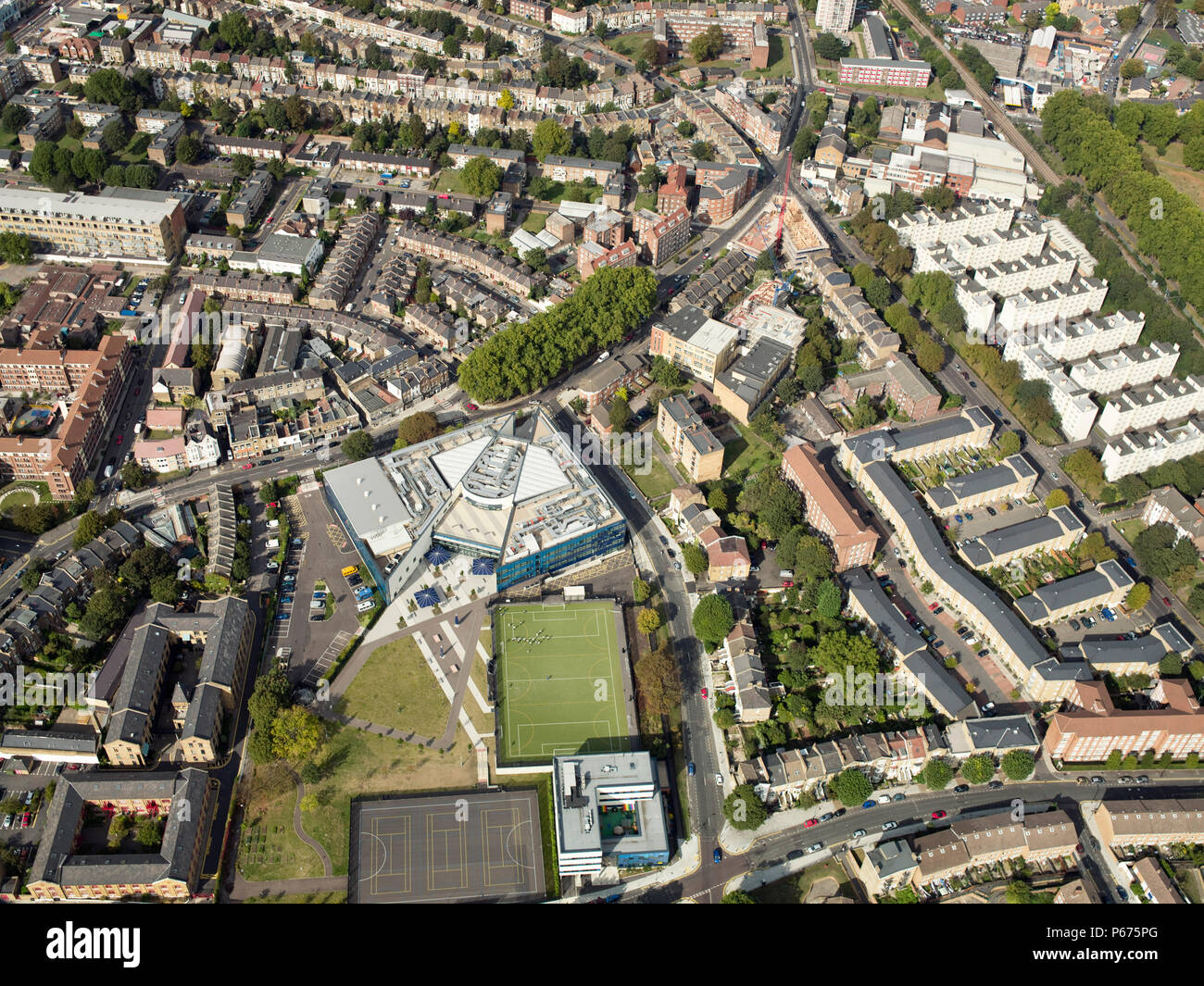 Aerial view of East London, UK - Stock Image