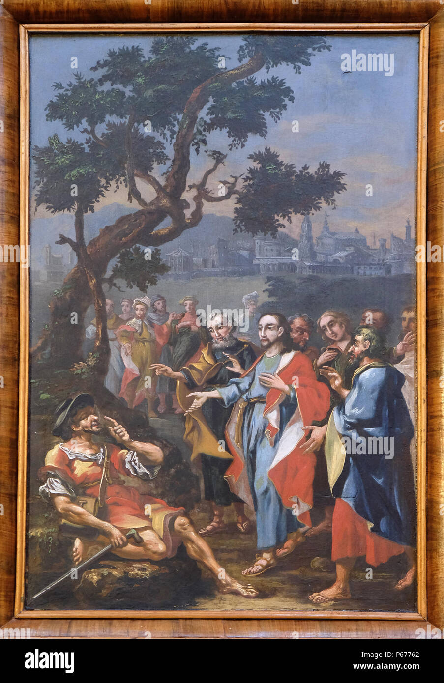 Miracles of Jesus: Healing the blind, church of Immaculate Conception in Lepoglava, Croatia - Stock Image