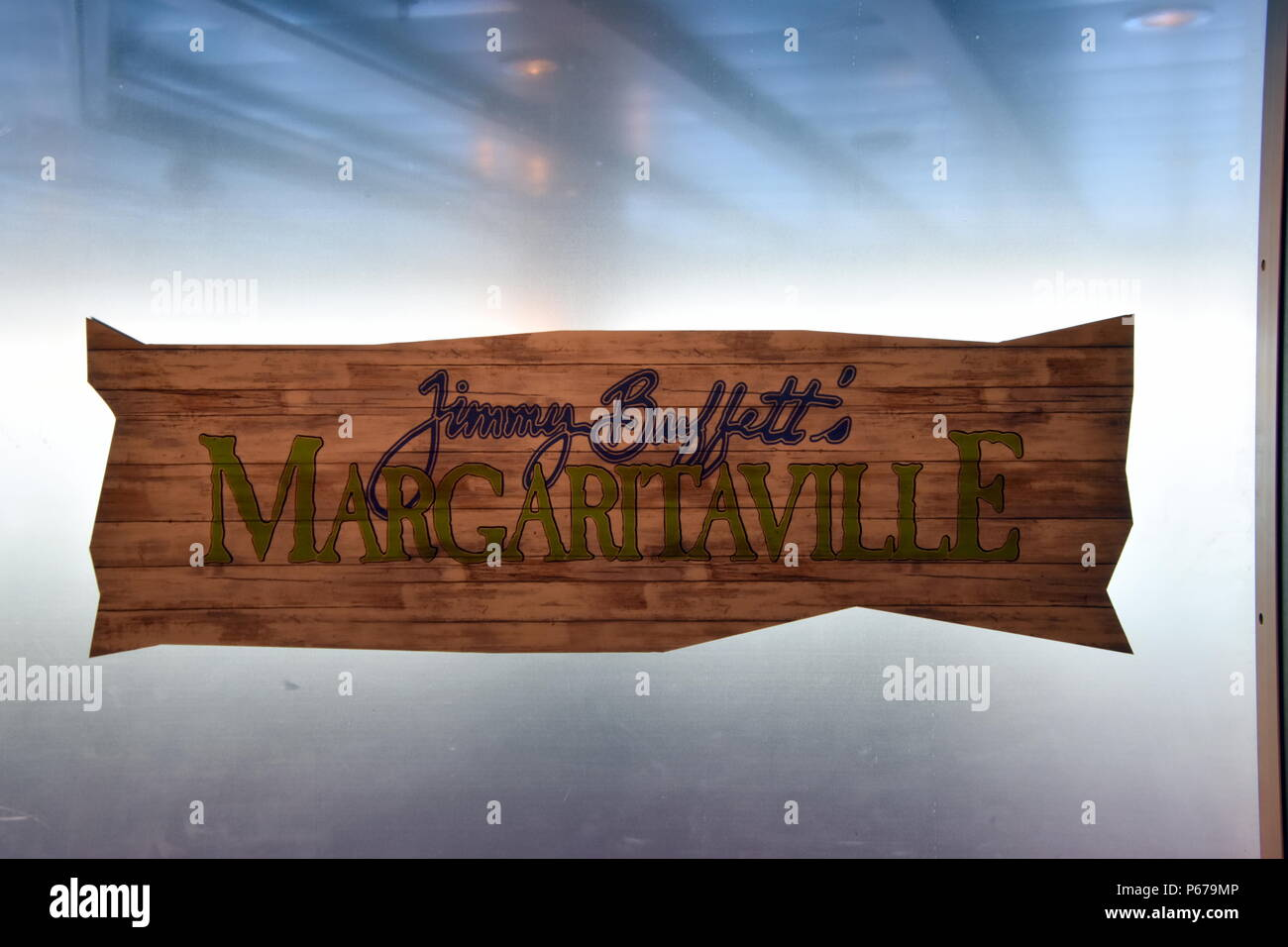 Baltic Sea - June 6, 2018: This is the sign for Jimmy Buffett's Margaritaville Restaurant located on the Norwegian Breakaway Cruise Ship as seen on th - Stock Image