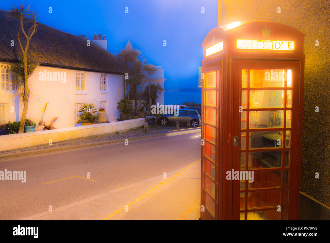 A UK Red Telephone Box located at Marazion in Cornwall - Stock Image