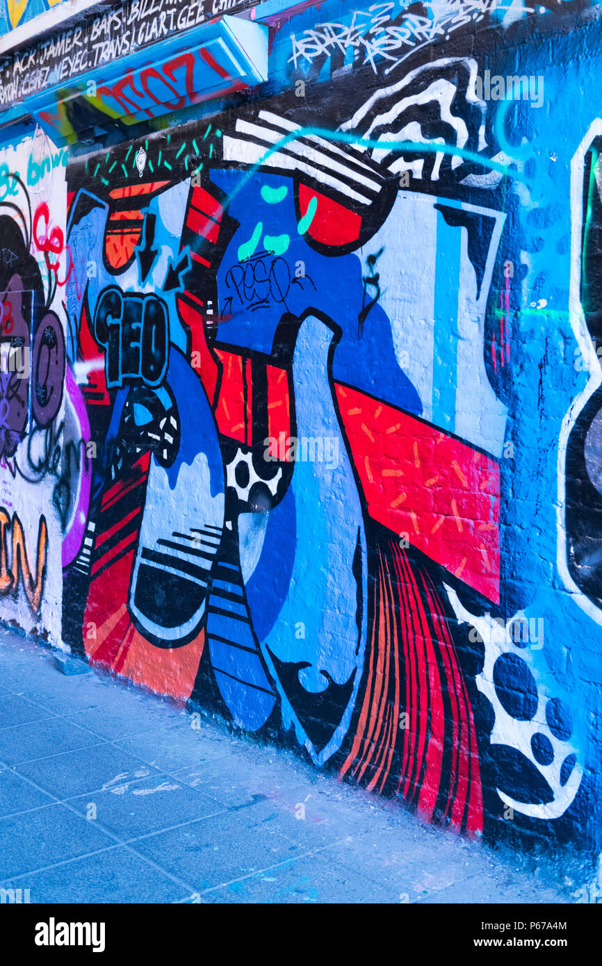 London Waterloo Leake Street Graffiti Abstract Blue Red