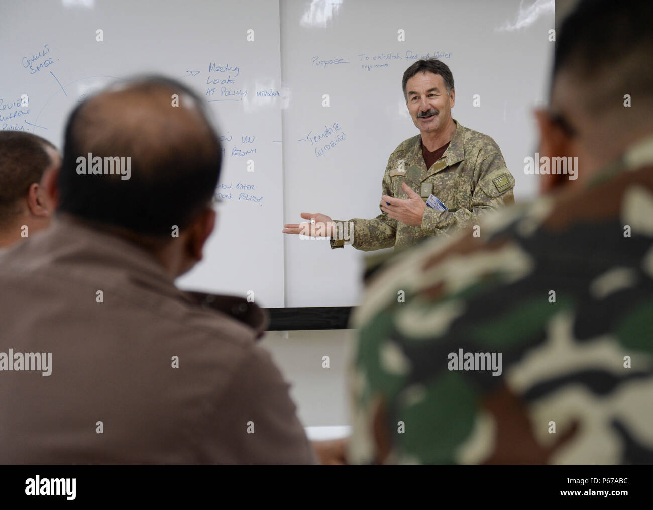 160525-N-GI544-100 PANCHKHAL, Nepal (May 25, 2016) – Maj. Jim Josephs, assigned to J5-H Joint Operational Health Group, New Zealand Defense Force, speaks during a seminar on force health protection in peacekeeping operations between the U.S., New Zealand, Nepalese and Bangladeshi military medical professionals at the Birendra Peace Operations Training Center in Panchkhal, Nepal.  The seminar was formed to enhance force medicine practices within the U.S. military as well as share and collaborate with partner nations across the Indo-Asia-Pacific region. (U.S. Navy photo by Mass Communication Spe Stock Photo