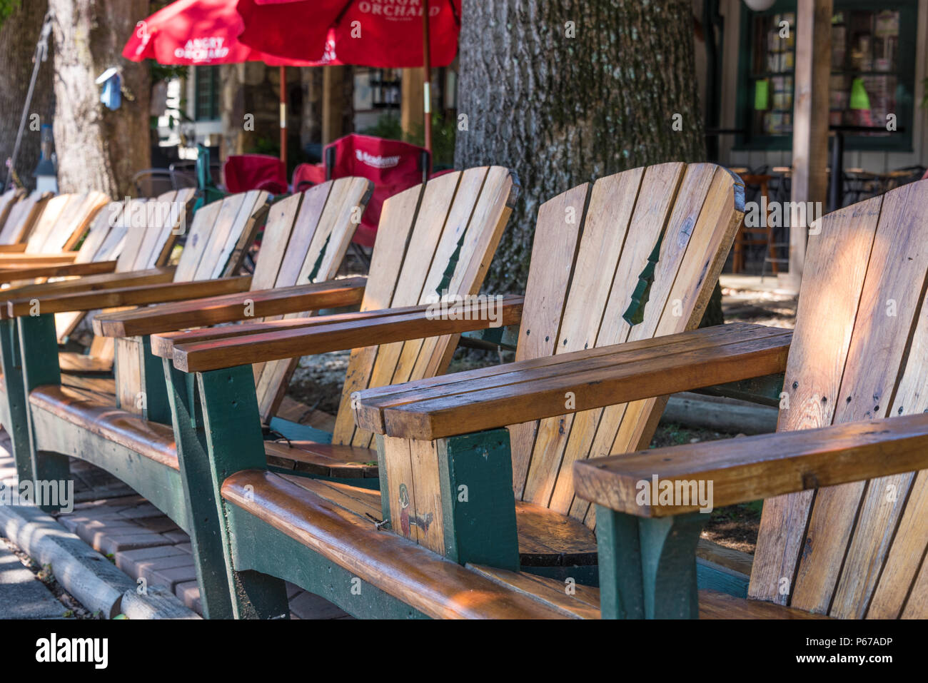 Wooden Chairs In Front Of Bettyu0027s Country Store In The Blue Ridge Mountains  Town Of Helen, Georgia. (USA)