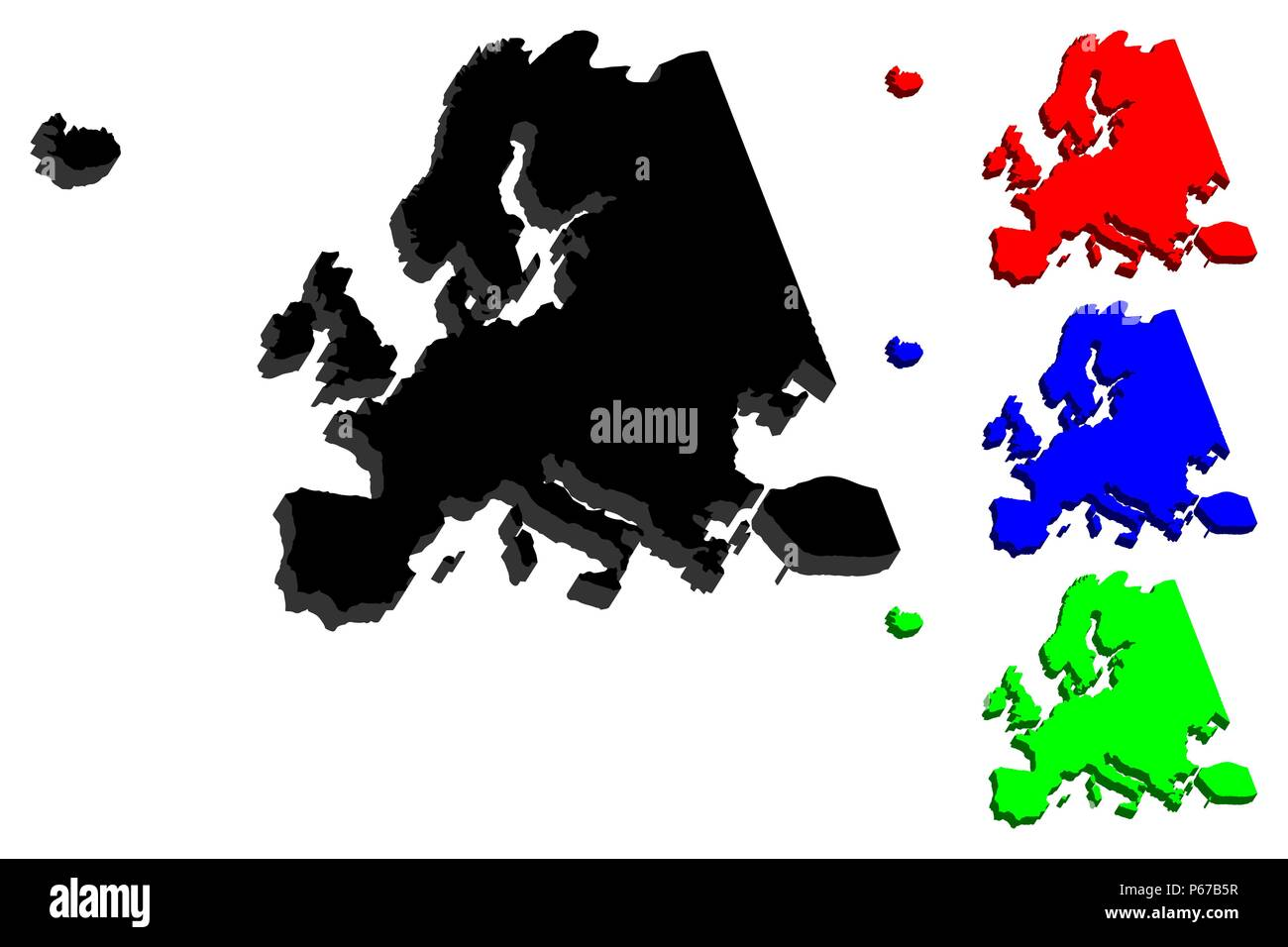 3D map of Europe continent - black, red, blue and green - vector illustration - Stock Image