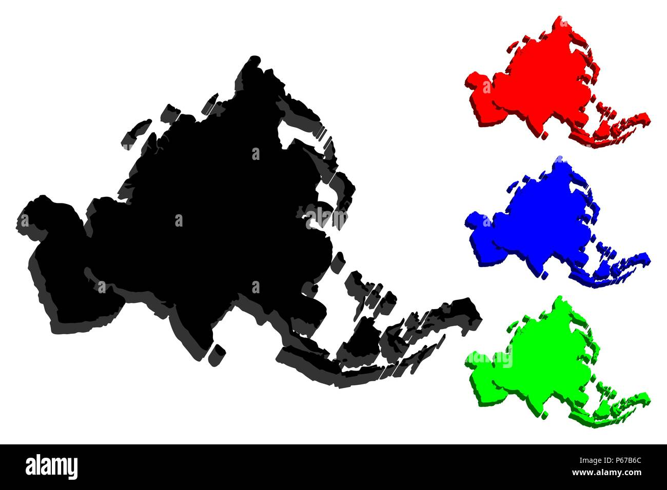 3D map of Asia continent - black, red, blue and green - vector illustration - Stock Vector