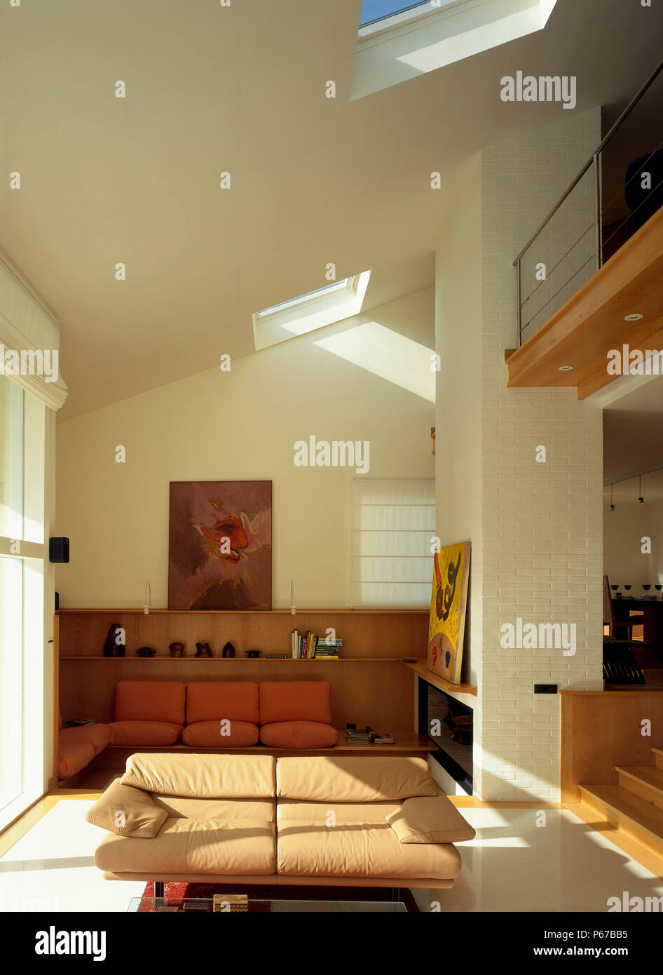 View Of A Living Room With A Skylight Stock Photo: 210374953 ...