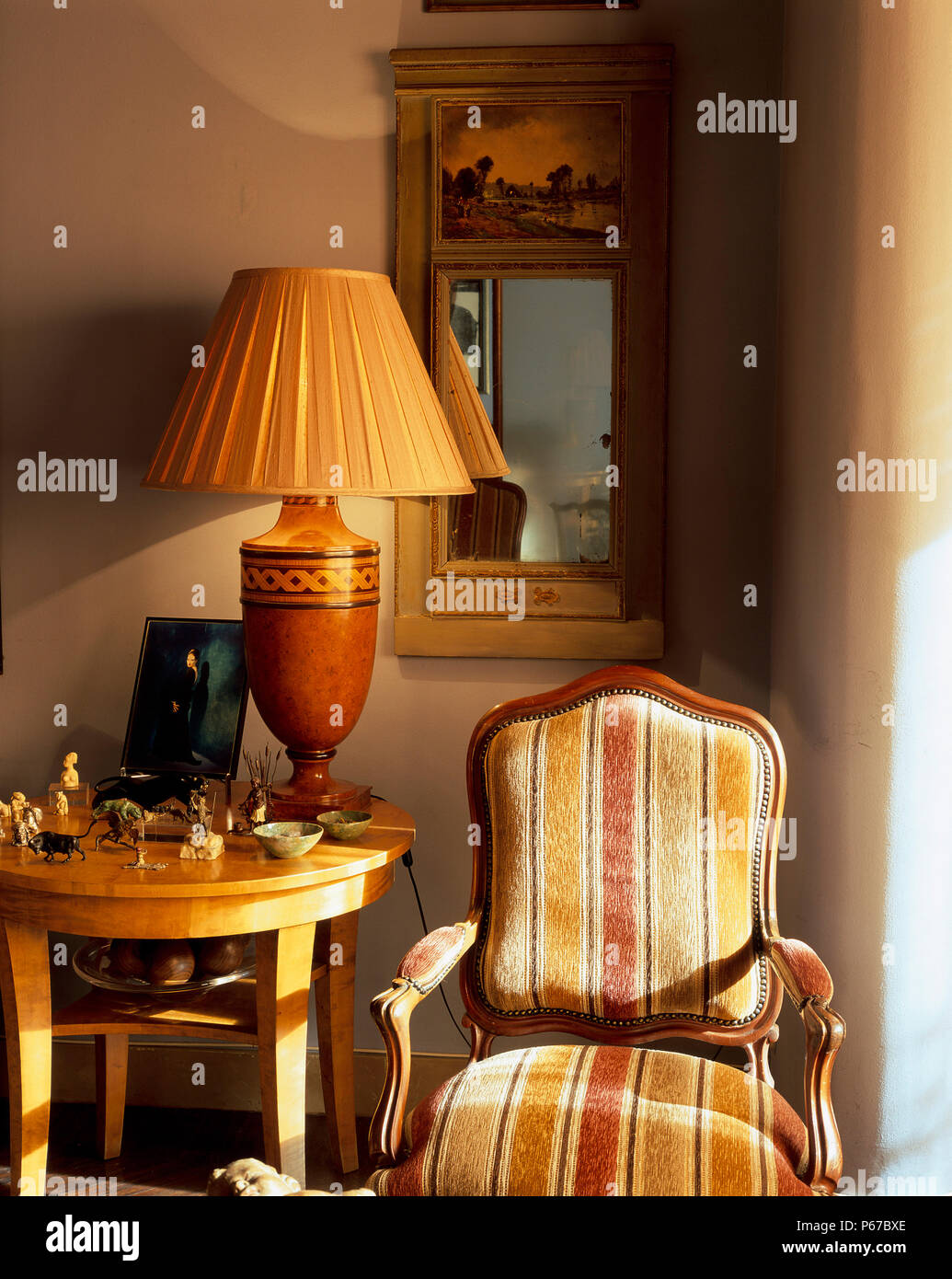 View of a striped armchair - Stock Image