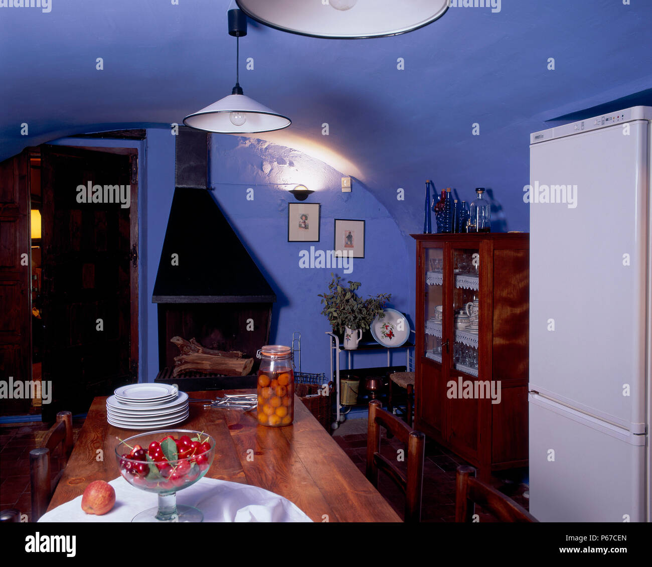 View of an eclectic dining room - Stock Image