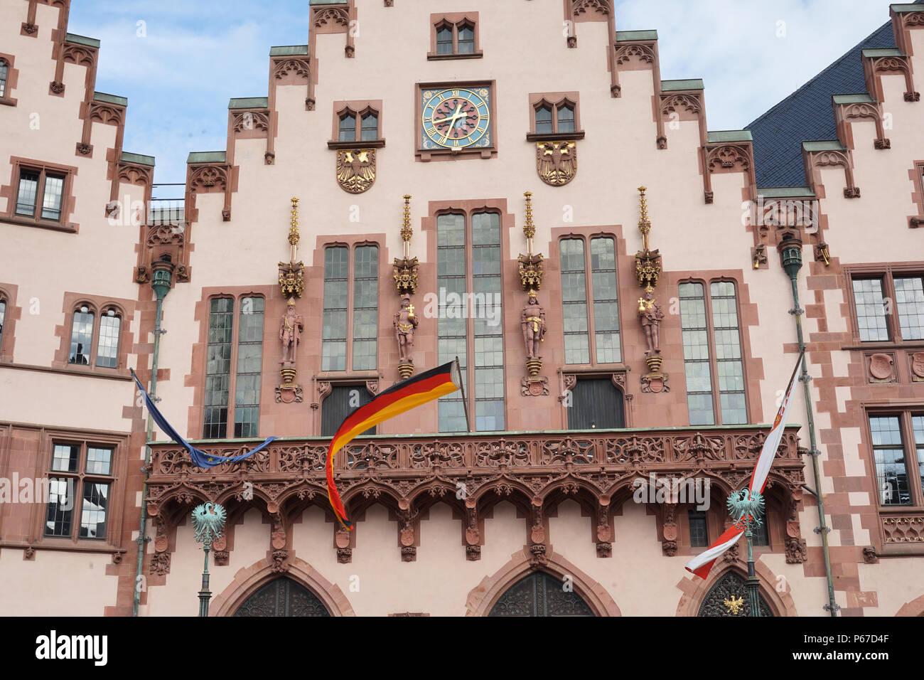 Fassade, Rathaus, Römer, Römerberg, Old Town, Historic Center, Frankfurt am Main, Germany Stock Photo